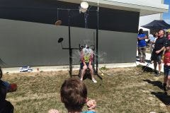 "Mr Rose gets ""Dunked"", much to the enjoyment of Mr Mitchell (Right)"